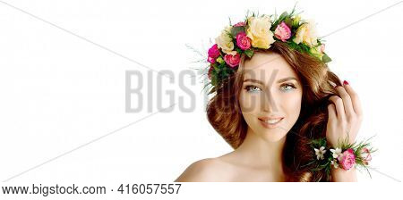 Spring young woman with flowers.