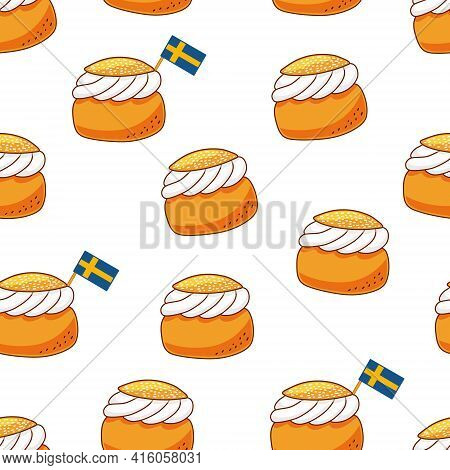 Semla. Traditional Swedish Dessert With Whipped Cream. Vector Repeated Seamless Pattern