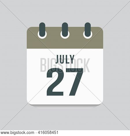 Icon Day Date 27 July, Template Calendar Page
