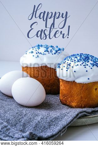 Happy Easter Greeting Card Easter Eggs. Happy Day Bright Easter. Orthodox Easter Holiday. Traditiona