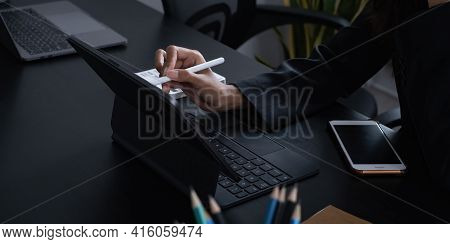 Creative Designer Designer Carrying Pencil And Sketches Her Idea On Laptop. Business Day Work Lifest