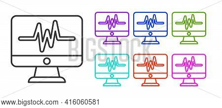 Black Line Computer Monitor With Cardiogram Icon Isolated On White Background. Monitoring Icon. Ecg