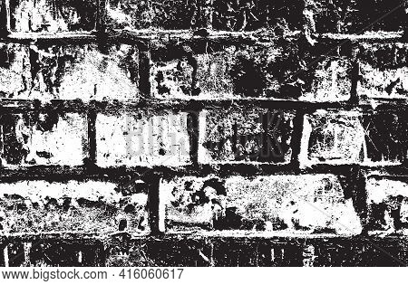 Seamless Pattern With Black And White Brick Wall. Vector Texture In The Grunge Style Suitable For Wa