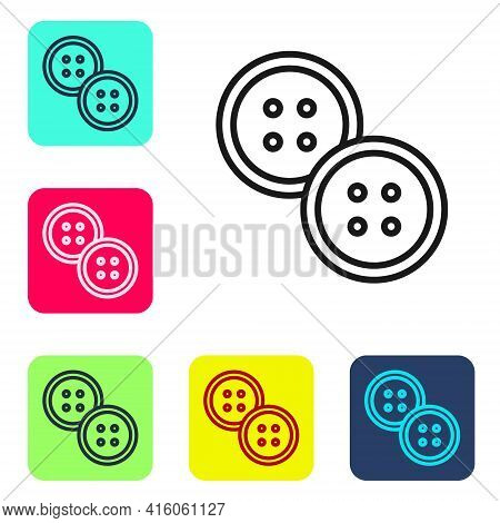 Black Line Sewing Button For Clothes Icon Isolated On White Background. Clothing Button. Set Icons I