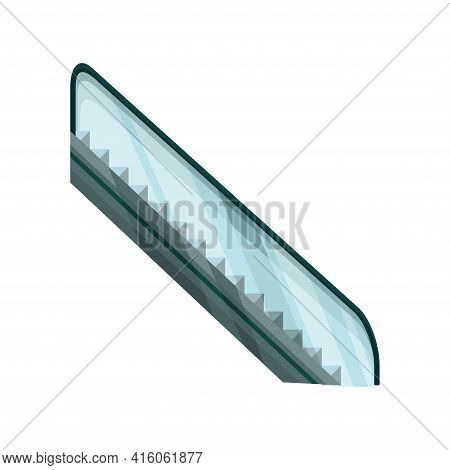 Modern Elevator Stairs Escalator. Electric Staircases Or Moving Stair. Isolated Cartoon Flat Vector
