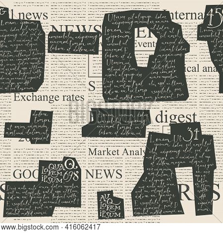 Abstract Seamless Pattern With Collage Of Lorem Ipsum Handwritten Fragments And Old Newspaper Clippi