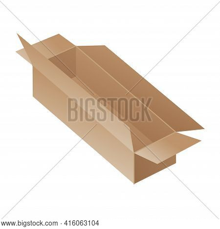 Box. Cardboard Box Mockup. Mail Container. Brown Recycling Cardboard Delivery Box Or Postal Parcel P