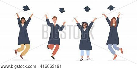 Group Of Happy Graduated Students Wearing Academic Dress, Gown Or Robe And Graduation Cap And Holdin