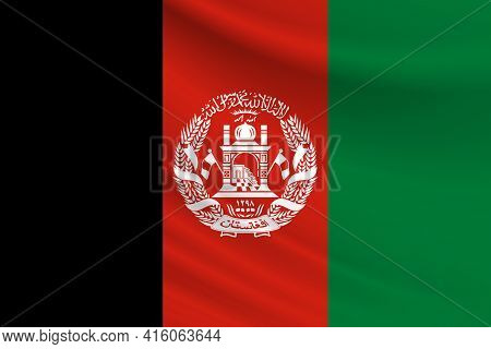 Flag Of Afghanistan. Fabric Texture Of The Flag Of Afghanistan.