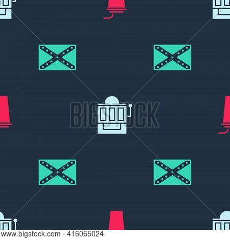 Set Paper Glass With Straw, Slot Machine And Flag Confederate On Seamless Pattern. Vector