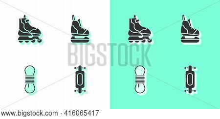 Set Longboard Or Skateboard, Roller, Climber Rope And Skates Icon. Vector