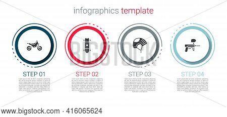 Set Mountain Bike, Longboard Or Skateboard, Helmet And Paintball Gun. Business Infographic Template.