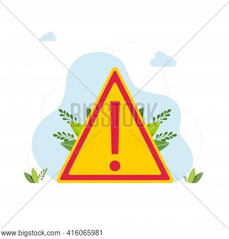 Caution Icon Or Sign In Flat Style Isolated. Warning Symbol Hazard Warning Attention Sign Warning Si