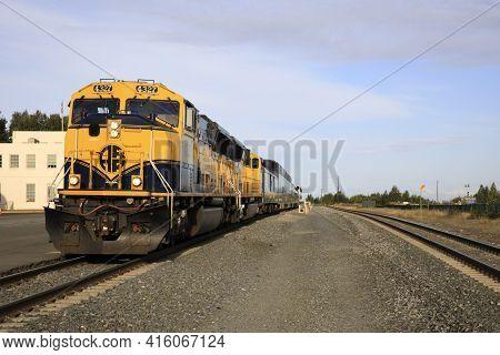 Anchorage, Alaska / Usa - August 08, 2019: The Alaska Railroad In Anchorage Town, Anchorage, Alaska,