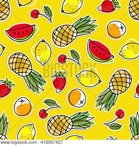 Seamless Pattern With Summer Seasonal Fruit Sticker. Watermelon, Pineapple, Strawberry, Lemon, Orang