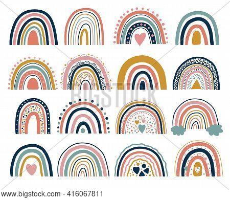 Nice Neutral Bohemian Rainbows Illustration. Trend Rainbows. Boho Rainbows For Baby Shower Invitatio