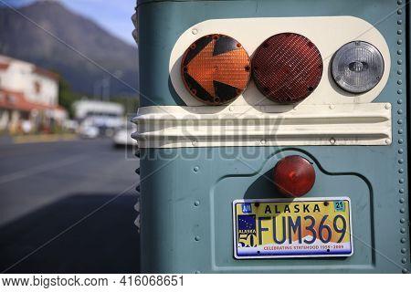 Seward, Alaska / Usa - August 08, 2019: Vehicle Registration Plate On Bus Back, Seward, Alaska, Usa