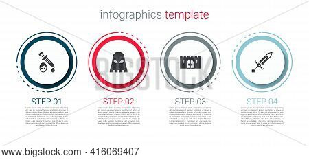 Set Sword With Blood, Executioner Mask, Medieval Castle Gate And Sword. Business Infographic Templat