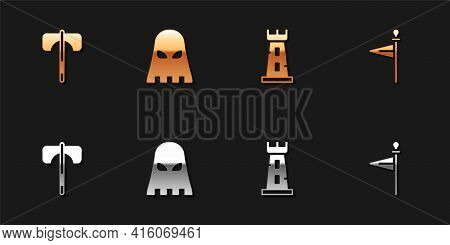 Set Medieval Axe, Executioner Mask, Castle Tower And Flag Icon. Vector