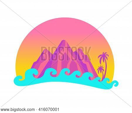 Mountains And Palm Trees Against The Sunset Near The Ocean. Tropical Sunset And Big Waves.