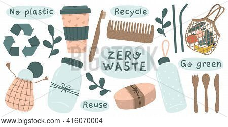 Recycle And Reusable Collection Of Zero Waste Objects: Spoon, Bag, Cutlery, Bottle Straw, Toothbrush