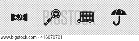 Set Bow Tie, Magnifying Glass, Double Decker Bus And Umbrella Icon. Vector