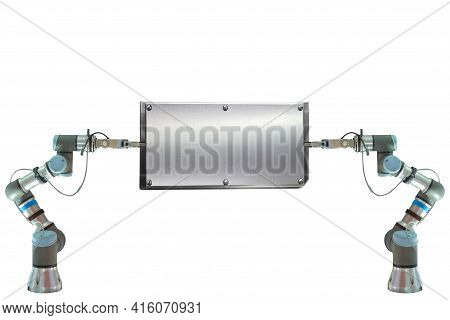 Industrial Robotics Gripping Blank Stainless Steel Billboard For Use Announce Information Or Put On