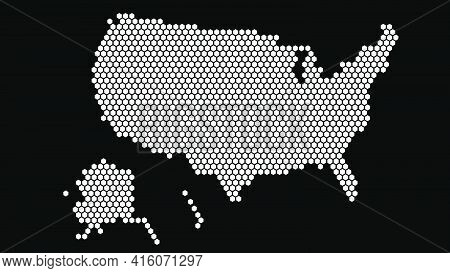 Black And White Hexagonal Pixel Map Of Usa. Vector Illustration United States Hexagon Map Dotted Mos