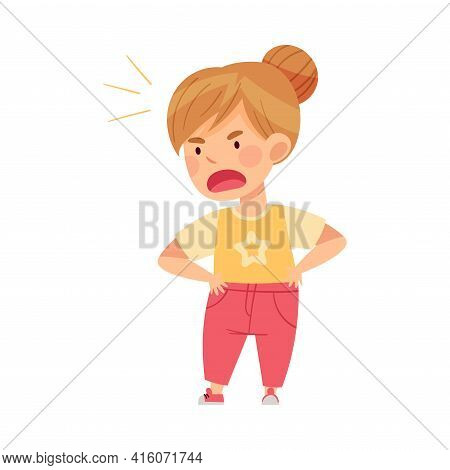 Angry Girl Bullying Somebody And Abusing The Weak Vector Illustration