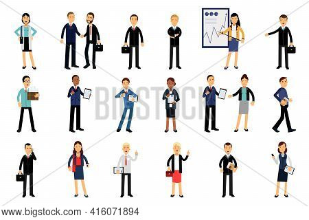 Businessmen Characters Wearing Black Formal Suits Carrying Folder And Suitcase Vector Illustration S