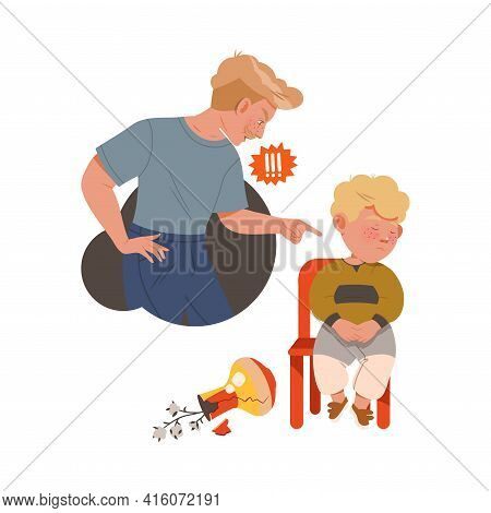 Little Boy Afraid Of Punishment For Broken Vase Sitting On Chair With Guilty Look Vector Illustratio