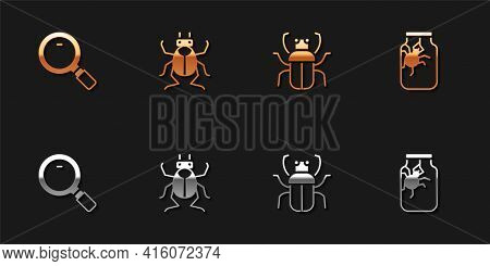 Set Magnifying Glass, Beetle Bug, Stink And Spider Jar Icon. Vector