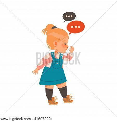 Little Girl Gossiping And Spreading Rumors About Her Agemates Vector Illustration