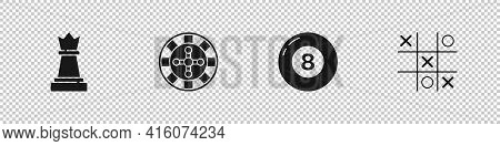 Set Chess, Casino Roulette Wheel, Billiard Pool Snooker Ball And Tic Tac Toe Game Icon. Vector