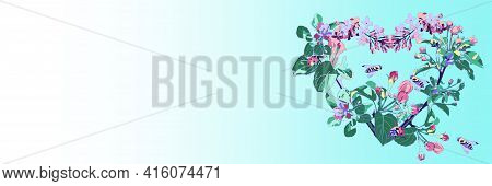 Blooming Heart Made Of Branches Of Apple And Lilac On A Blue Background. Spring Banner With Flowers