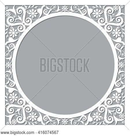 Moroccan Openwork Vector Frame Or Border Design With Corners - Perfect For Greeting Card Or Wedding