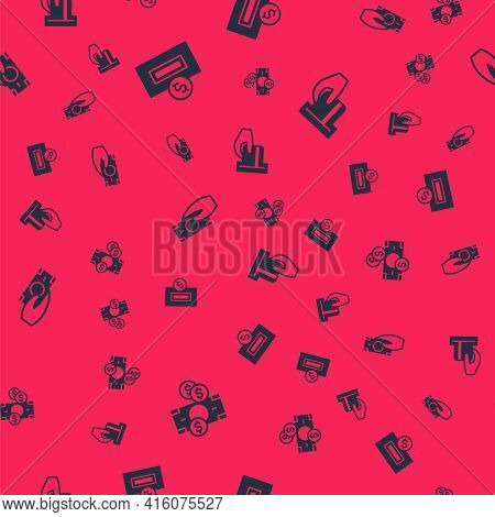 Set Stacks Paper Money Cash, Inserting Coin, Fast Payments And Credit Card Inserted On Seamless Patt