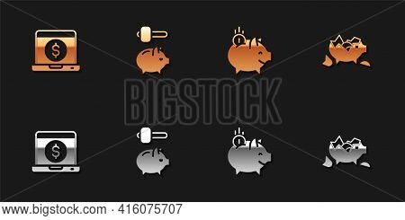 Set Laptop With Dollar, Piggy Bank And Hammer, Coin And Broken Piggy Icon. Vector