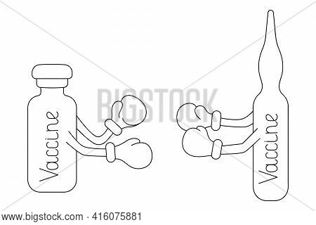 Vaccine. Ampoule And Vial. Sketch. Vaccine. Ampoule And Vial. Sketch. Vaccines Put On Boxing Gloves