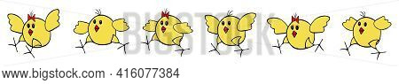 A Group Of Yellow Fan Vector Easter Pink Chickens Run After Each Other On A White Background. Border