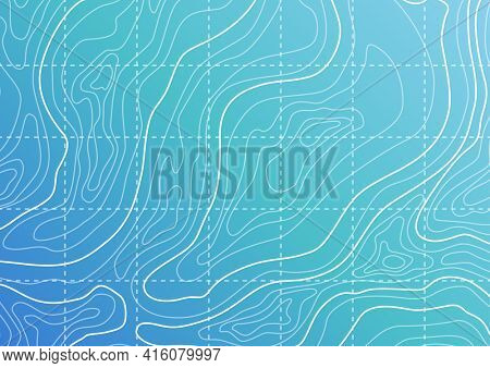 Topographic map background concept. Blue topographic background pattern with topographic or isolines. Geography concept