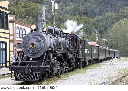Skagway, Alaska / Usa - August 12, 2019: An Old Steam Locomotive In Skagway Town, Skagway, Alaska, U