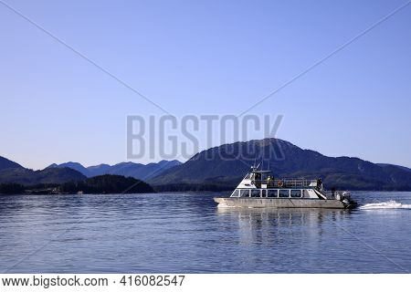 Strait Point, Alaska / Usa - August 13, 2019: Whale Watching Boat At Strait Point, Strait Point, Ala