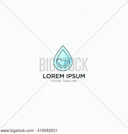 Leaf And Water Splash Color Logo Blue
