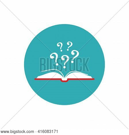 Open Book With Red Book Cover And White Question Mark In Blue Circle Isolated On White Background. F