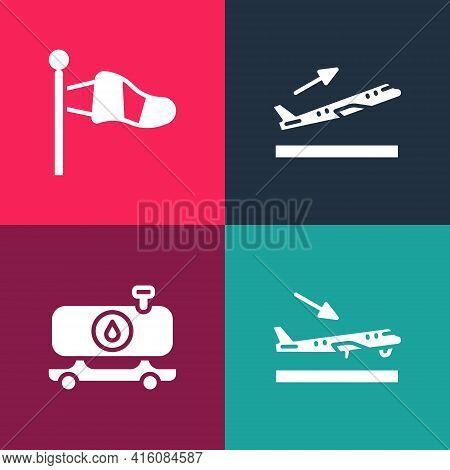Set Pop Art Plane Landing, Fuel Tanker Truck, Takeoff And Cone Meteorology Windsock Icon. Vector
