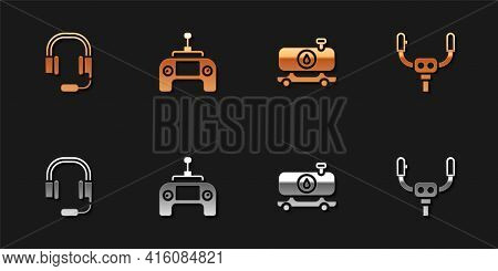 Set Headphones With Microphone, Drone Remote Control, Fuel Tanker Truck And Aircraft Steering Helm I