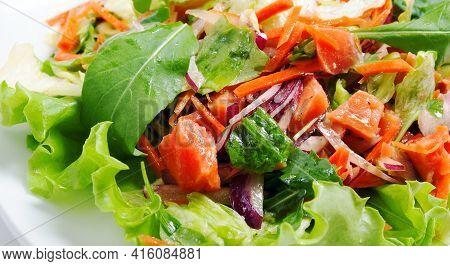 Californian Hot Smoked Salmon Salad Close Up