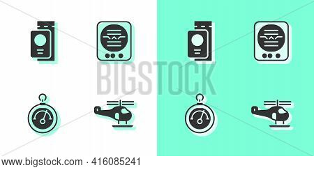 Set Helicopter, Passport With Ticket, Barometer And Attitude Indicator Icon. Vector