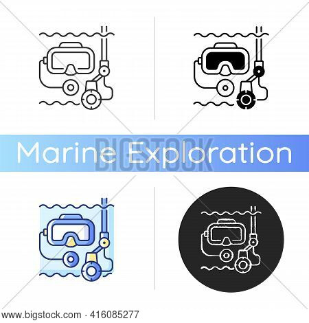 Underwater Inspection Icon. Easily Inspect Areas That Are Too Small For Divers To Enter. Helps To Av